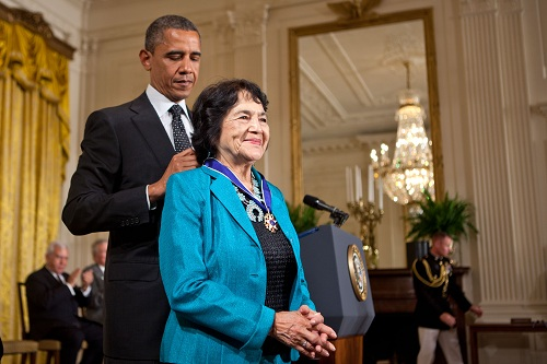President Barack Obama presents the Presidential Medal of Freedom to Dolores Huerta, May 29, 2012. (Official White House Photo by Lawrence Jackson)