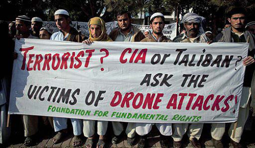 Pakistani villagers held a rally to condemn U. S. drone attacks on their villages on December 10, 2010.  (AP Photo/B.K.Bangash)